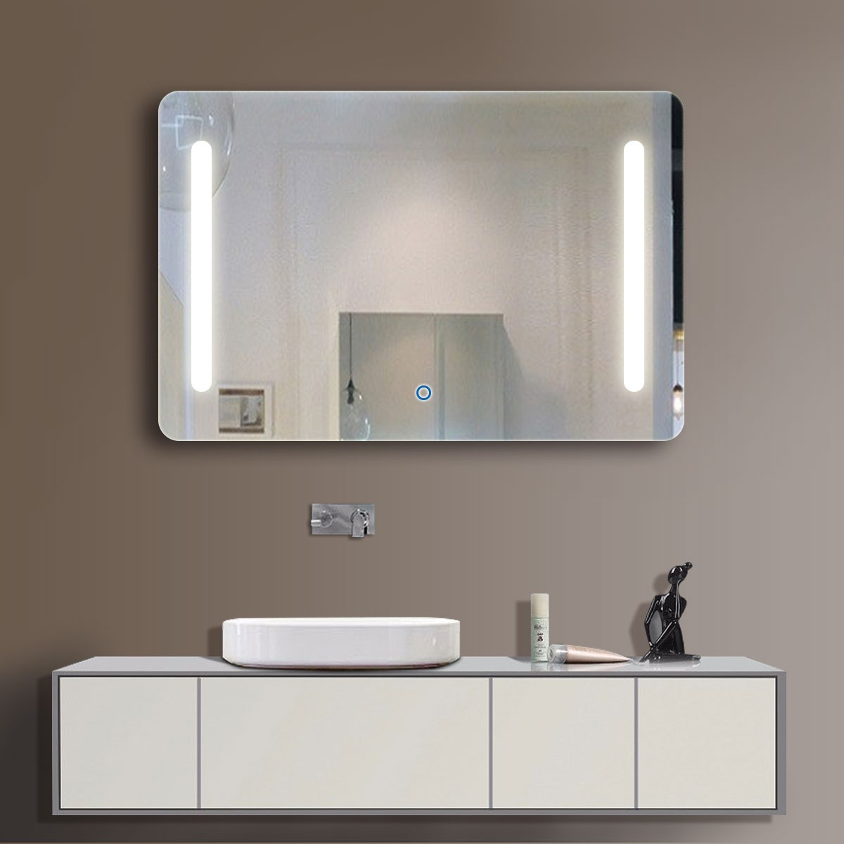 36 x 28 In Horizontal LED Bathroom Mirror, Touch Button (DK-OD-N027)