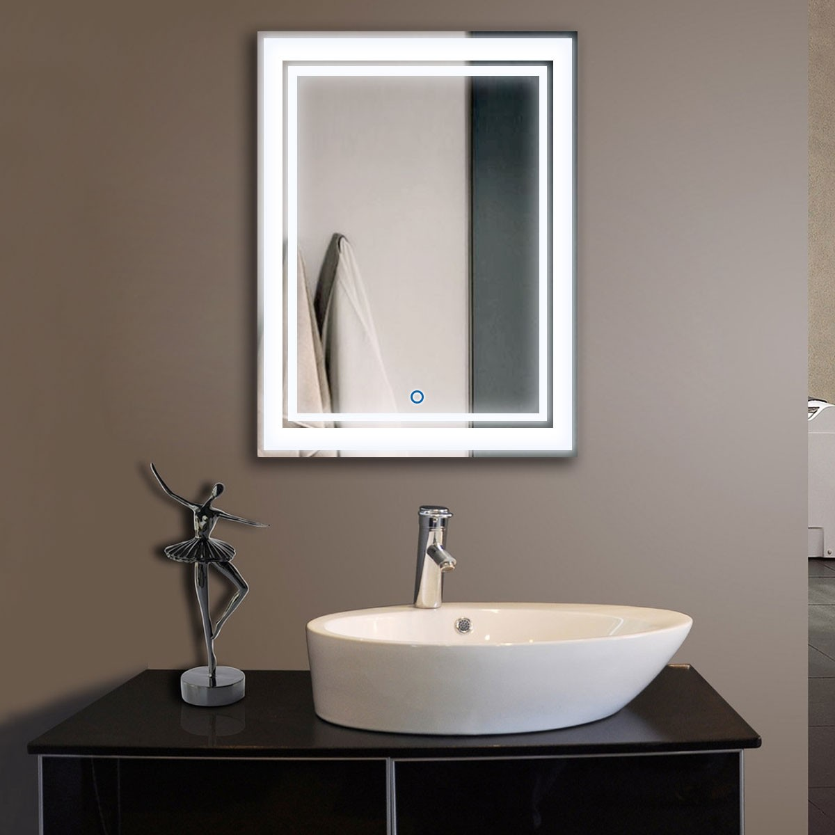 24 x 32 In Vertical LED Backlit Bathroom Mirror, Touch Button (DK-OD-CK160)