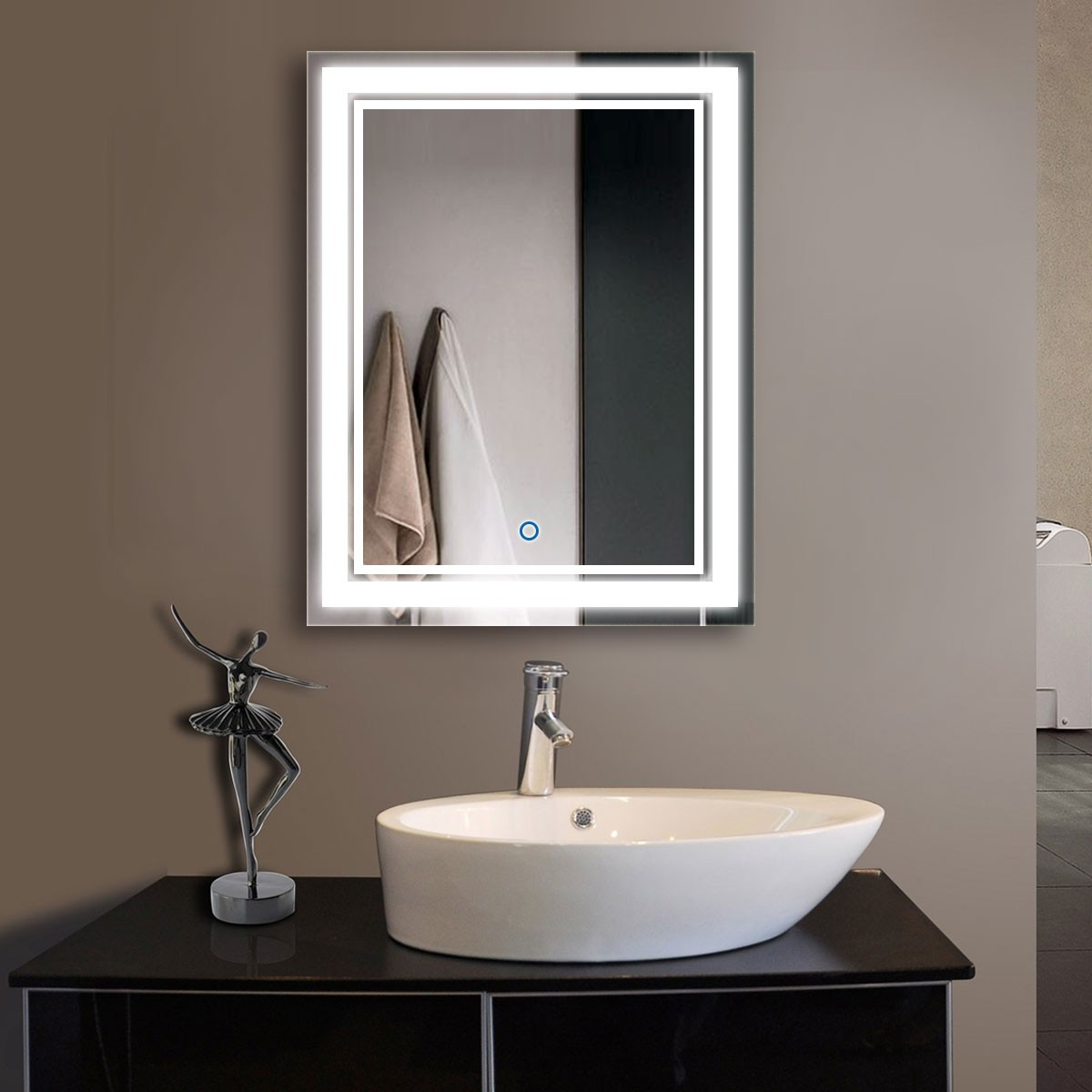 28 x 36 In Vertical LED Mirror, Touch Button (DK-OD-CK160-I)
