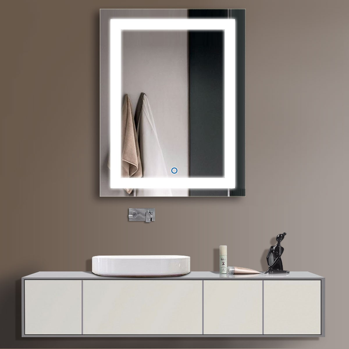 28 x 36 In Vertical LED Backlit Bathroom Mirror, Touch Button (DK-OD-CK168-I)