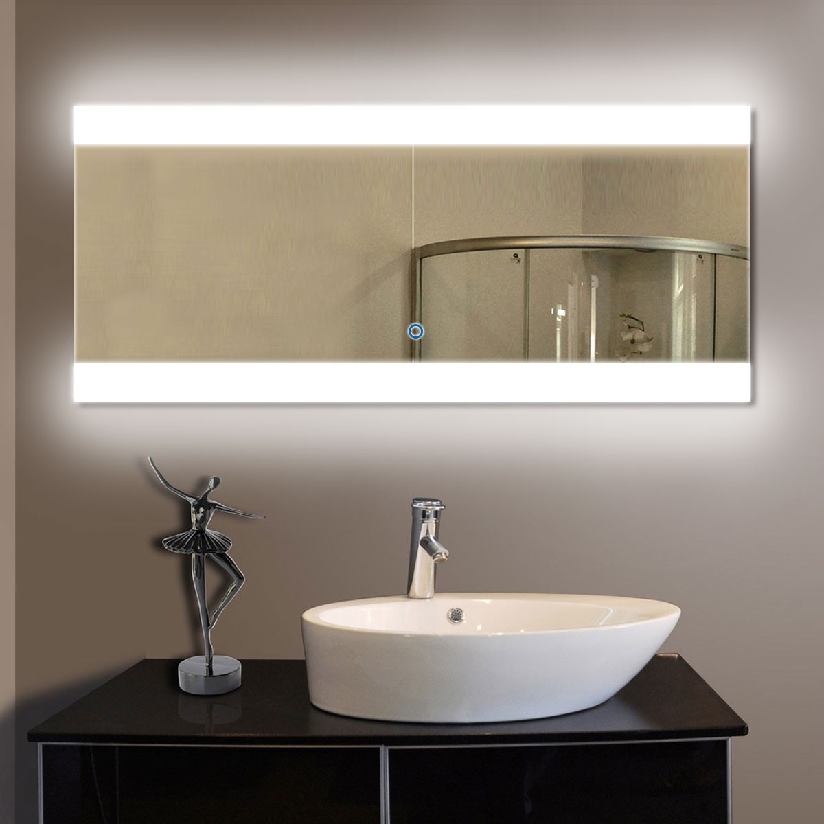 80 x 36 in horizontal led mirror with touch button dk od for Mirror 80 x 80
