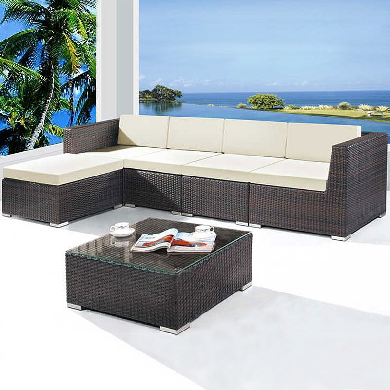 Wicker Patio Sectional with Cushion Insert (JMS-663)