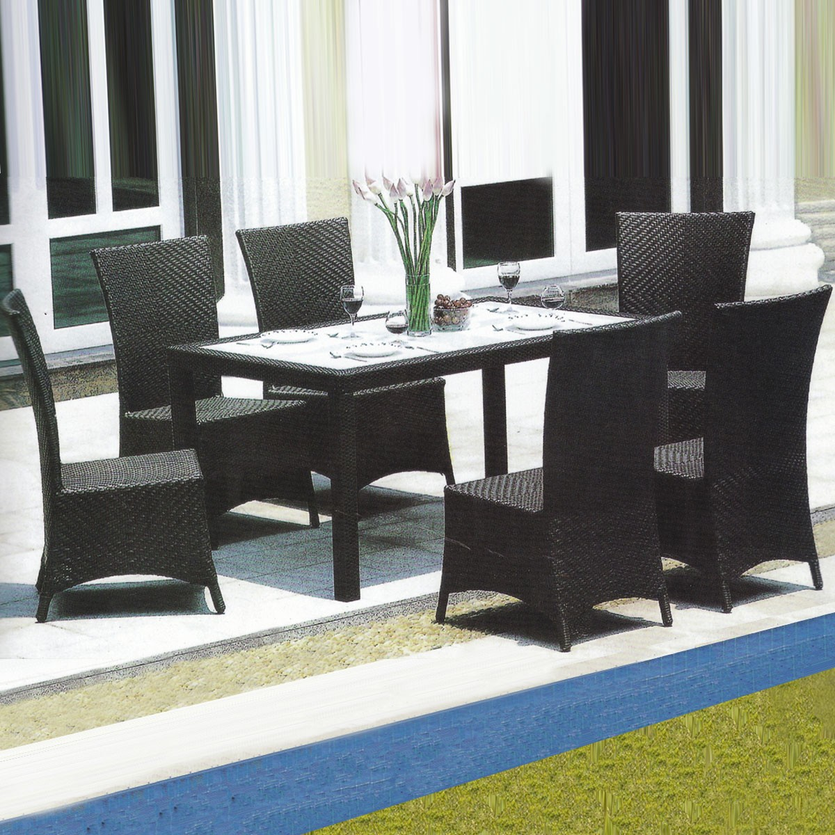 PE Rattan 7 Pieces Dining Set: 1 * Dining Table, 6 * Chair (