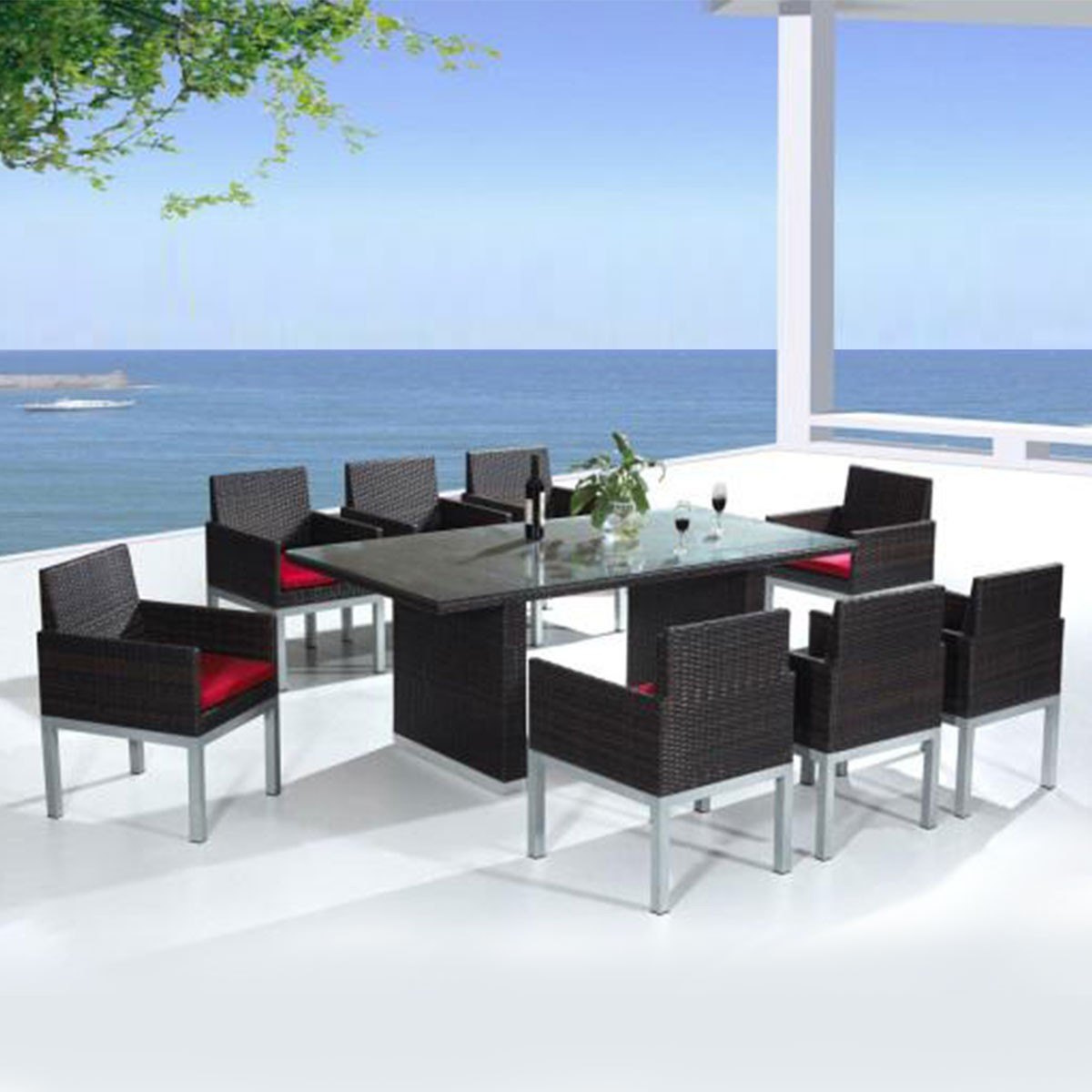 PE Rattan 9 Pieces Dining Set: 1 * Dining Table, 8 * Chair (LLS-6060+1060)