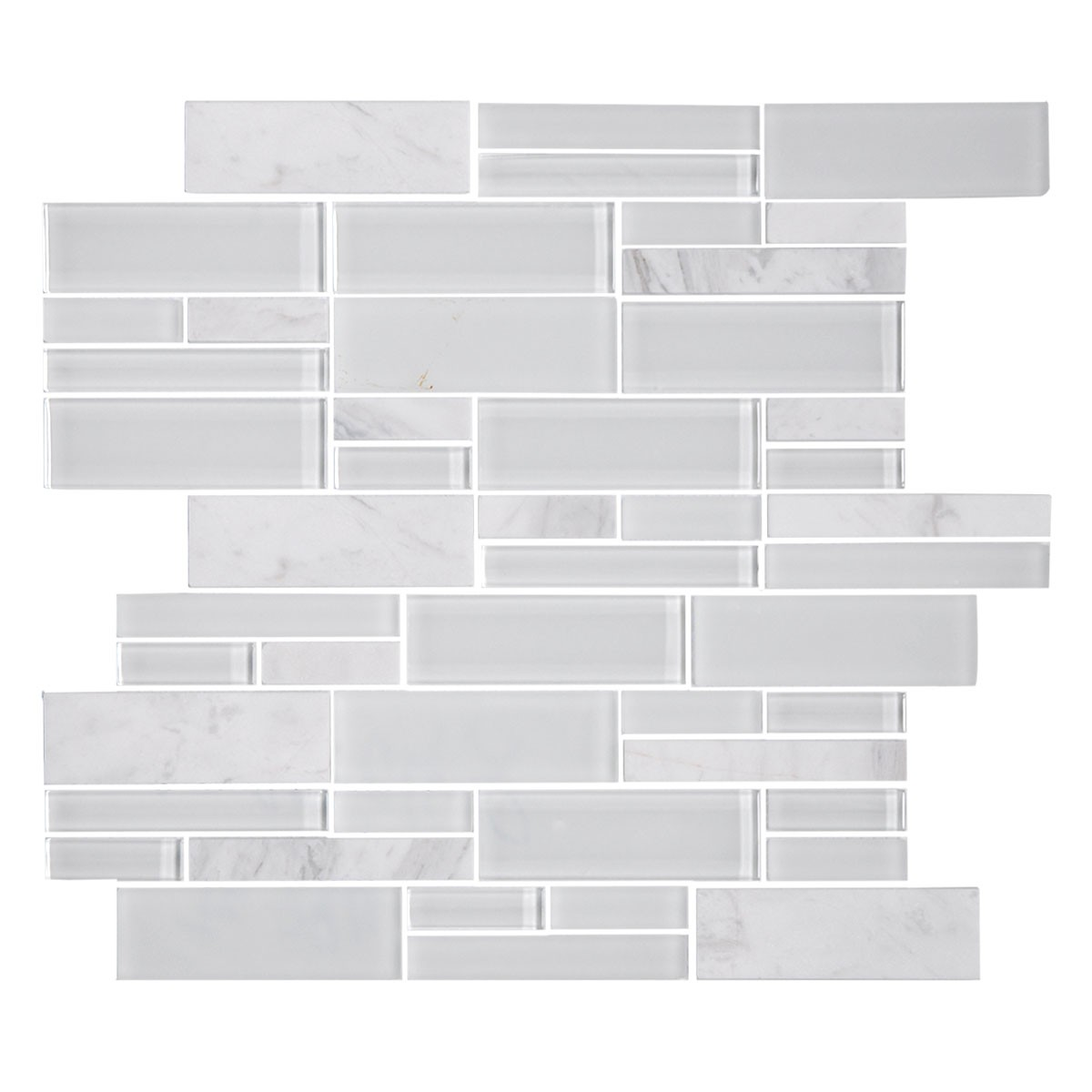14.2 in. x 11.8 in. Glass Stone Blend Strip Mosaic Tile in Grey - 8mm Thickness (DK-AD805048)