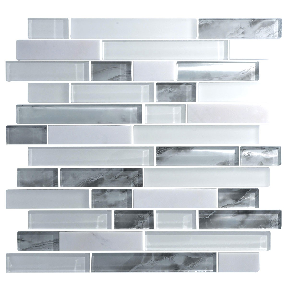 12.8 in. x 11.8 in. Glass and Stone Blend Strip Mosaic Tile - 8mm Thickness (DK-8NF0305-011)