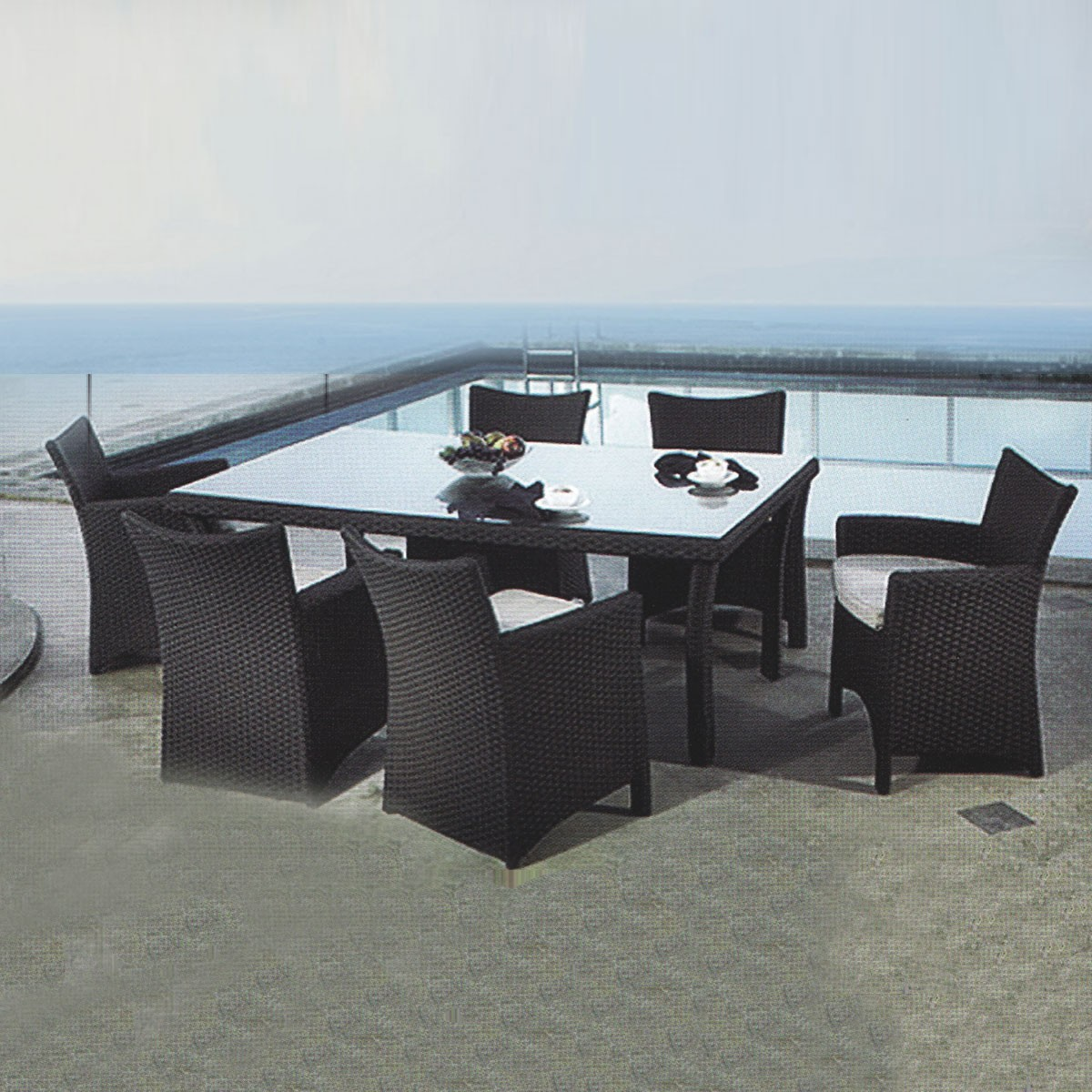 PE Rattan 7 Pieces Dining Set: 1 * Dining Table, 6 * Chair (LLS-6052+1052)