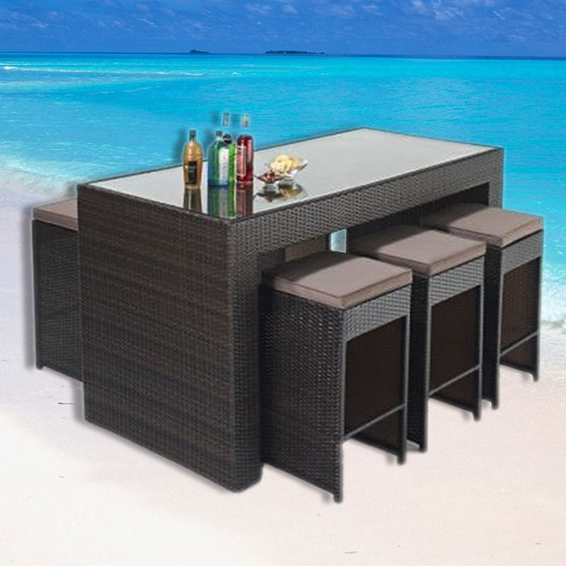 PE Rattan 7 Pieces Dining Set: 1 * Dining Table, 6 * Chair (LLS-6051+1051)