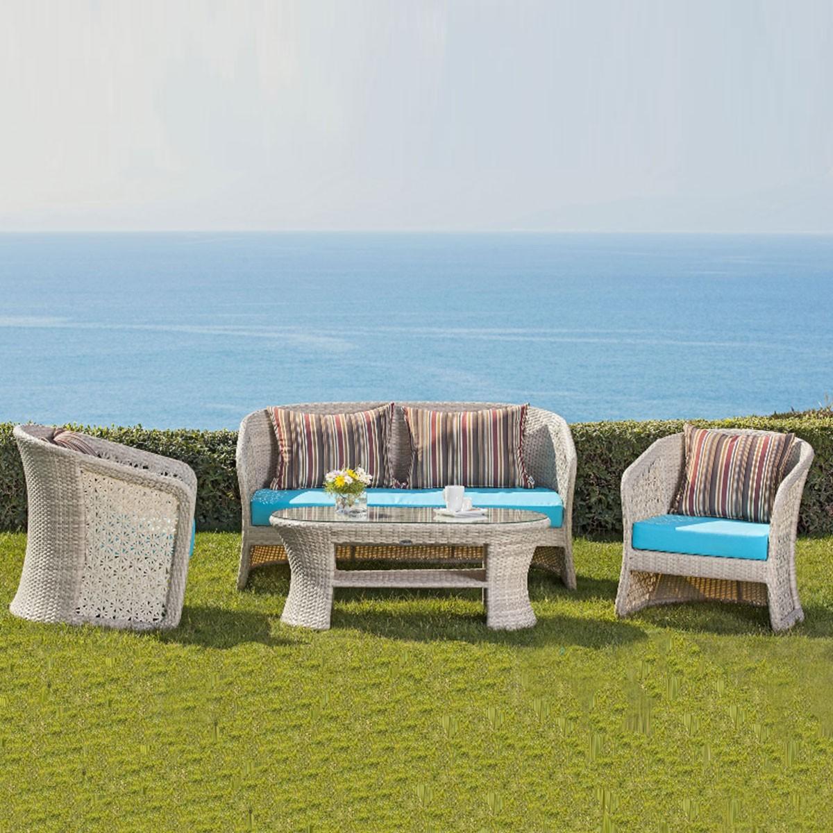 4-Piece PE Rattan Sofa Set: 1 * Loveseat, 2 * Lounge Chair, 1 * Coffee Table (LLS-FSAL01)