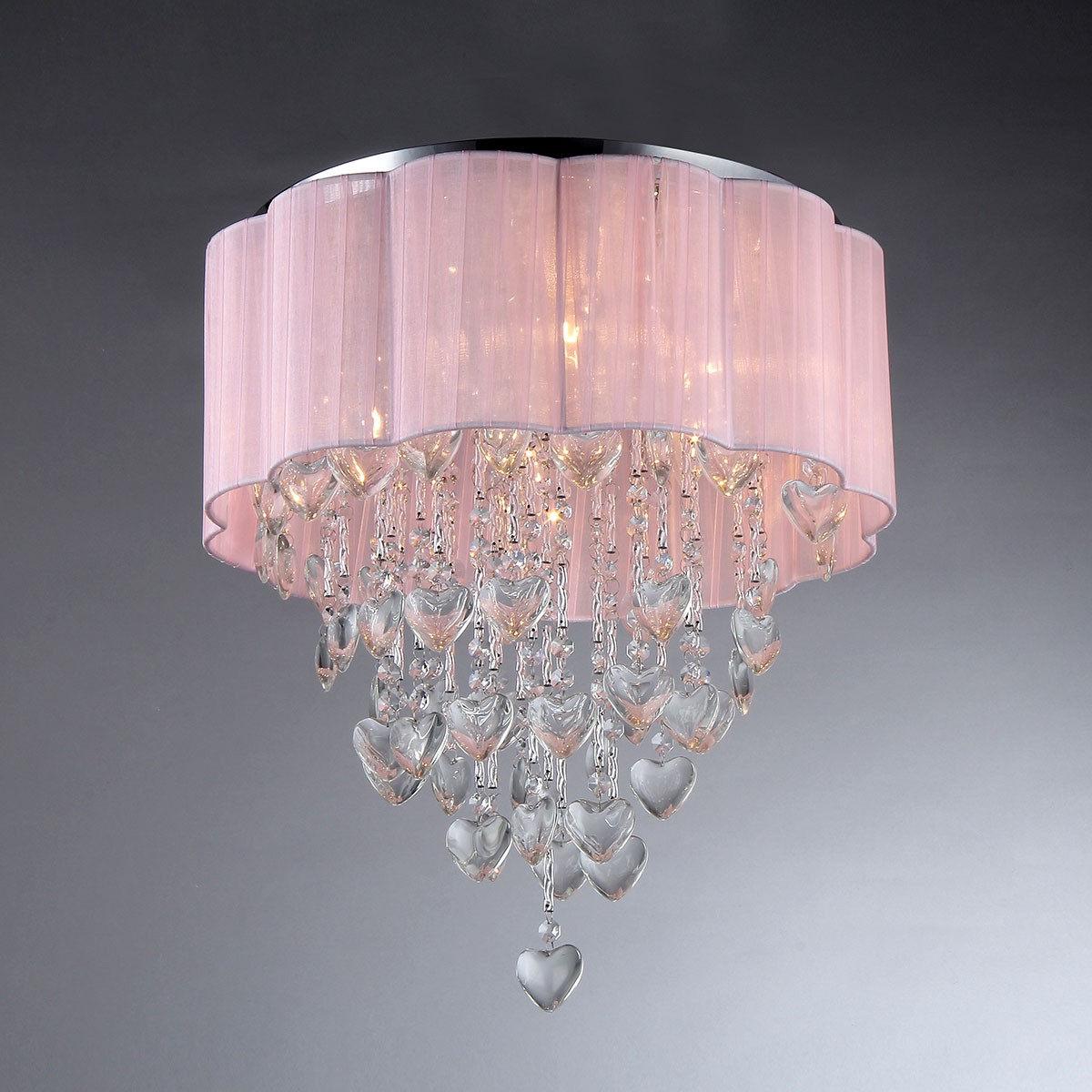 6-Light Pink Round Crystal Ceiling Light (DK-SS007)
