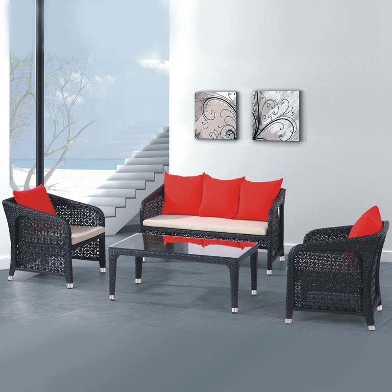4-Piece PE Rattan Sofa Set: 1 * Loveseat, 2 * Lounge Chair, 1 * Coffee Table (LLS-279)