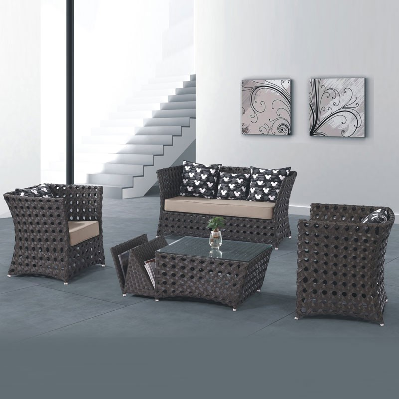 4-Piece PE Rattan Sofa Set: 1 * Loveseat, 2 * Lounge Chair, 1* Coffee Table (LLS-233)