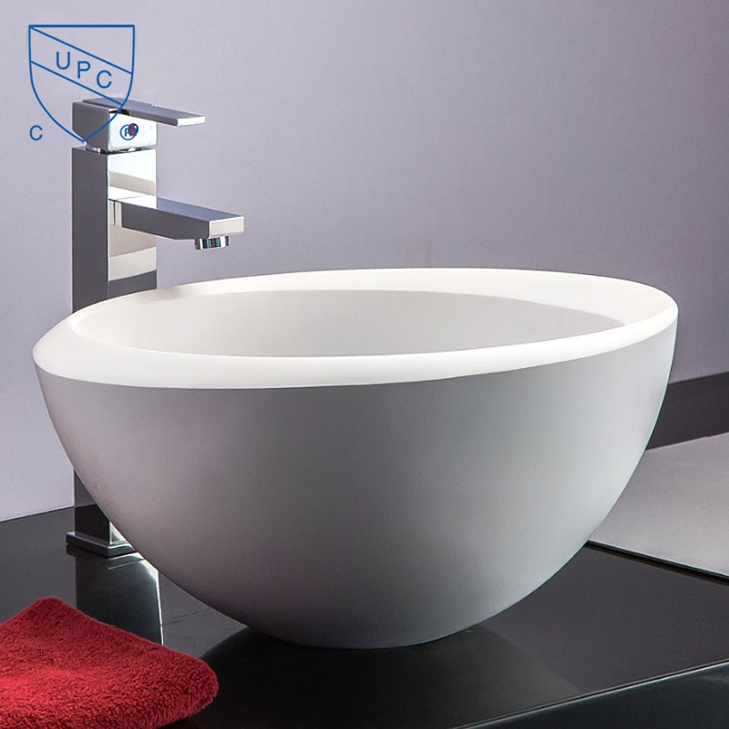 White Artificial Stone Above Counter Bathroom Vessel Sink (DK-HB9048)