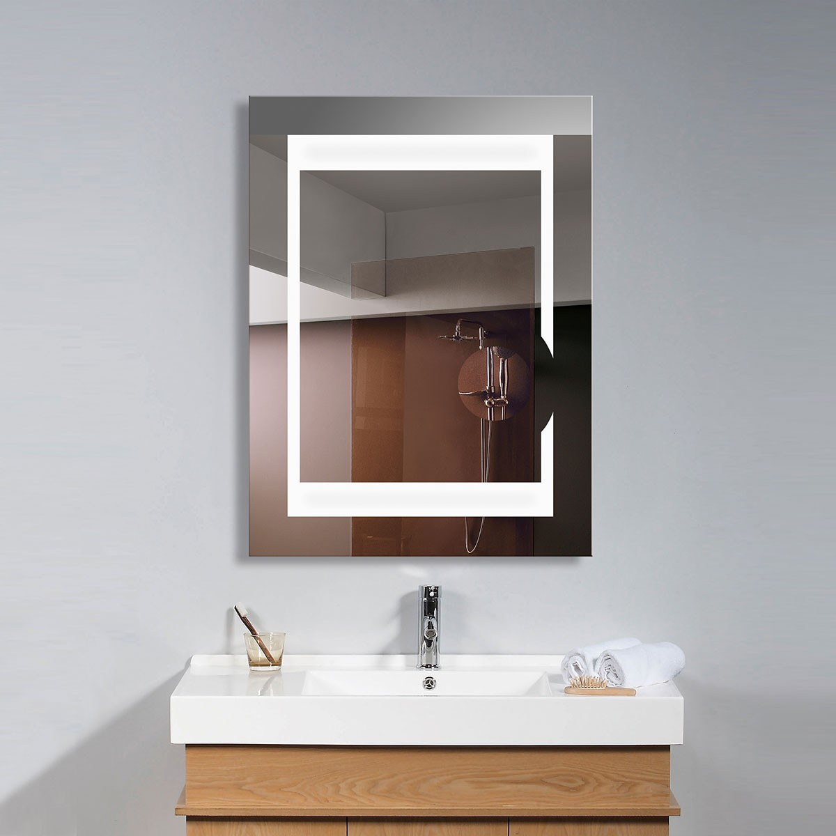 24 X 32 In Vertical Led Bathroom Mirror With Circular Magnifier And On Off Switch
