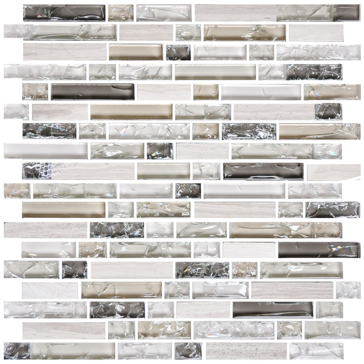 8mm Thickness Electroplated Glass Mosaic Tile - 12 in. x 12 in. (DK-RS234873A4)
