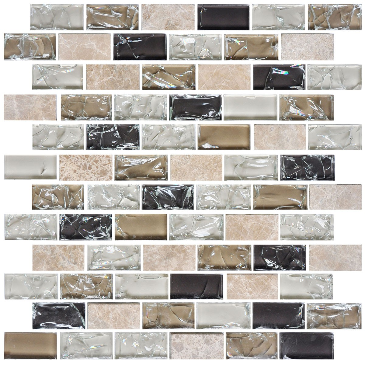 8mm Thickness Electroplated Glass Mosaic Tile - 12 in. x 12 in. (DK-RS2348S02)