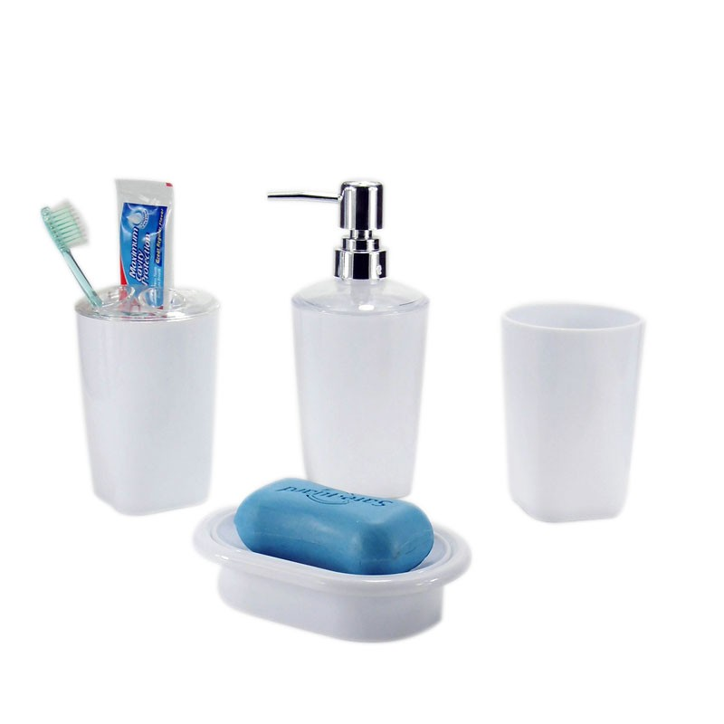 4-Piece Bathroom Accessory Set, White Collection (DK-ST001)