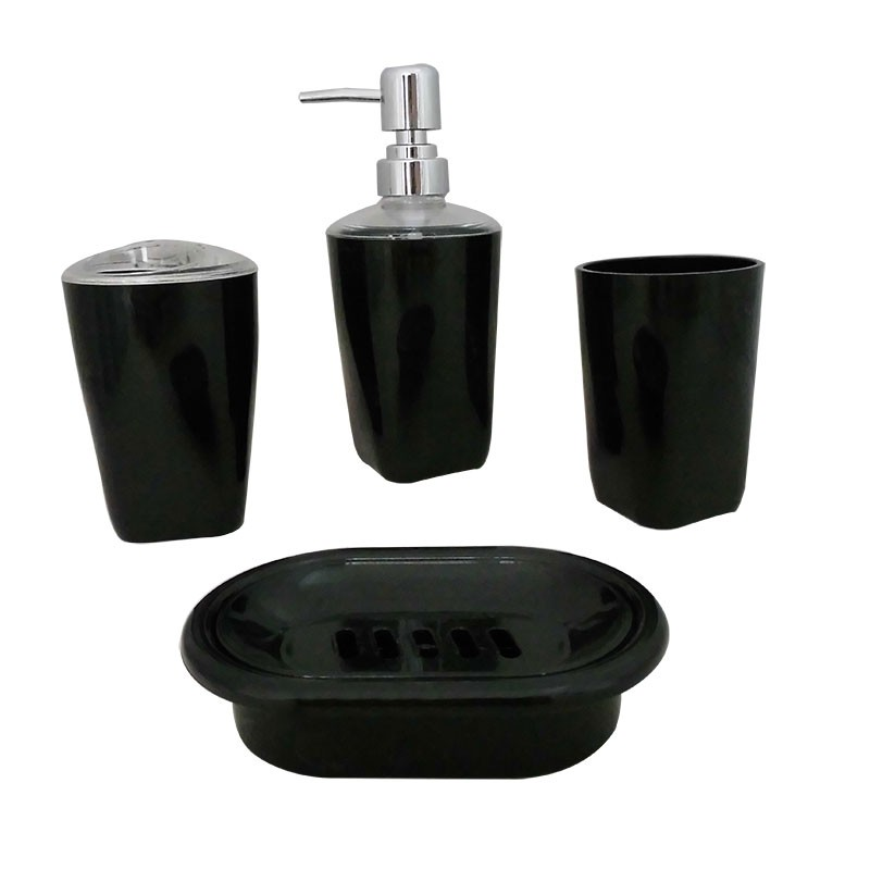 4-Piece Bathroom Accessory Set, Black Collection (DK-ST003)
