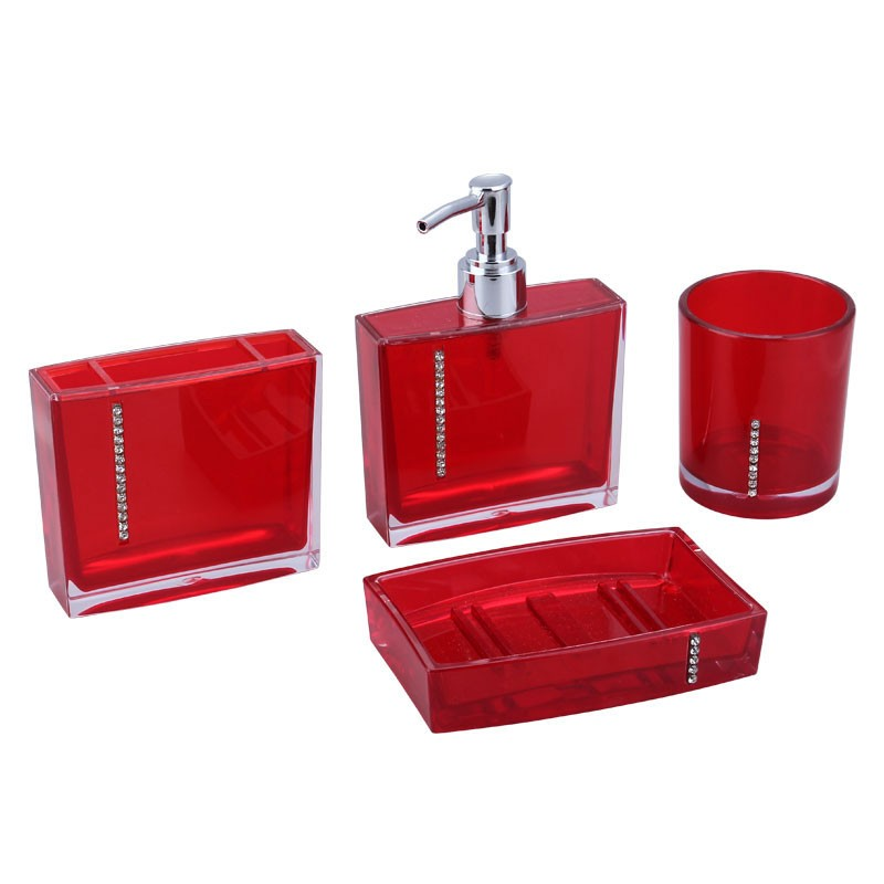 4 piece bathroom accessory set red collection dk st023 for Bathroom 4 piece set