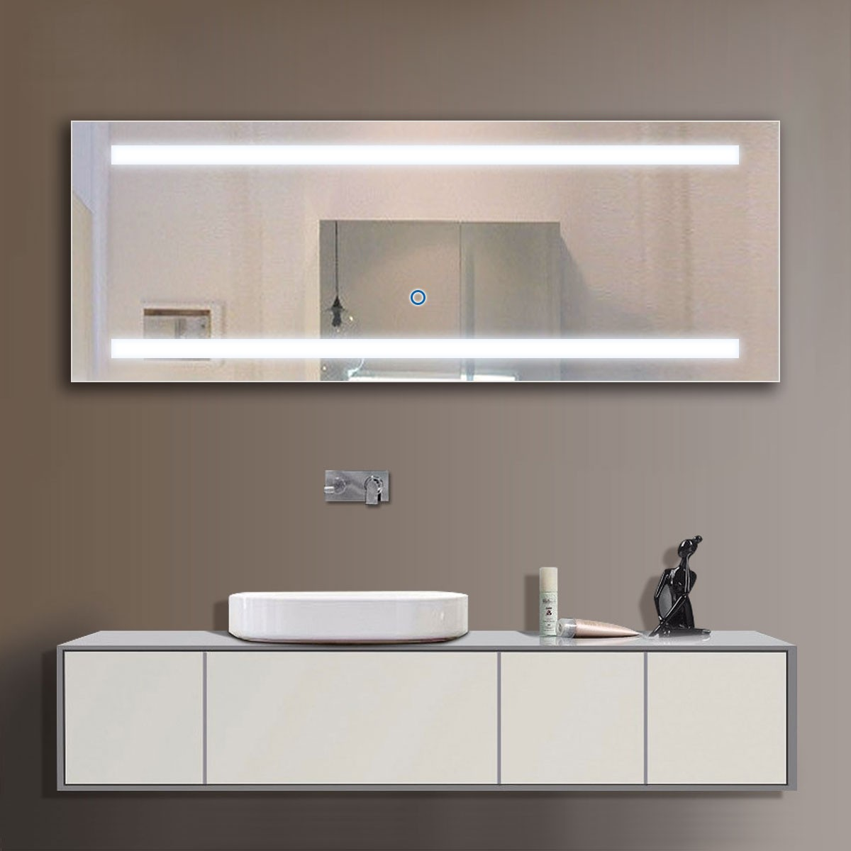 65 x 24 In LED Bathroom Mirror, Touch Button (DK-OD-C230)