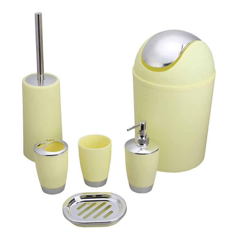 6-Piece Bathroom Accessory Set, Yellow Collection (DK-ST016)