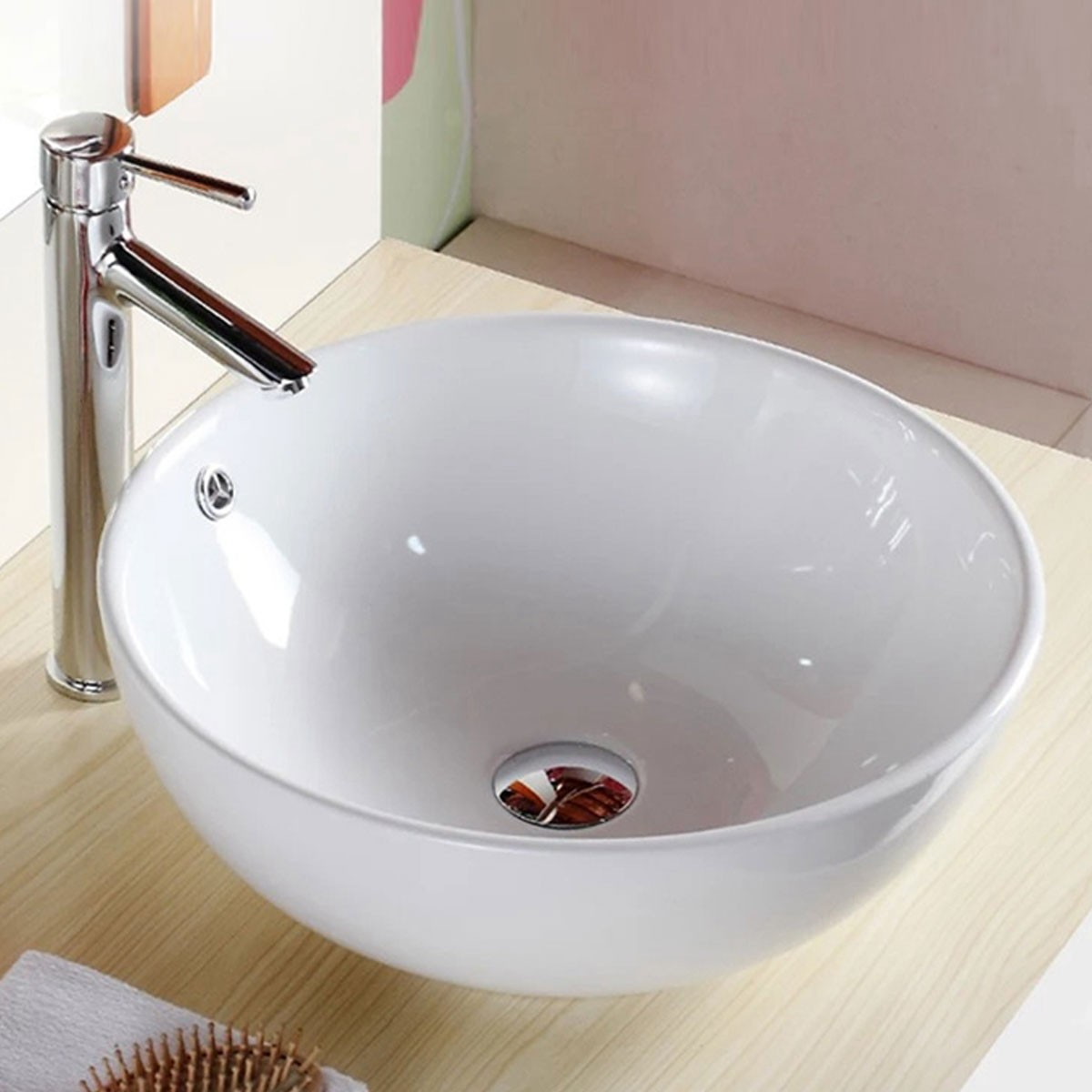 Decoraport White Round Ceramic Above Counter Basin (CL-1027)