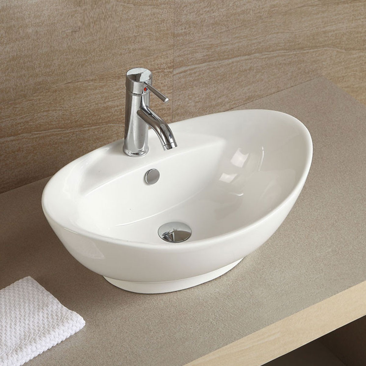 Decoraport White Oval Ceramic Above Counter Basin Vessel Vanity Sink (CL-1038)