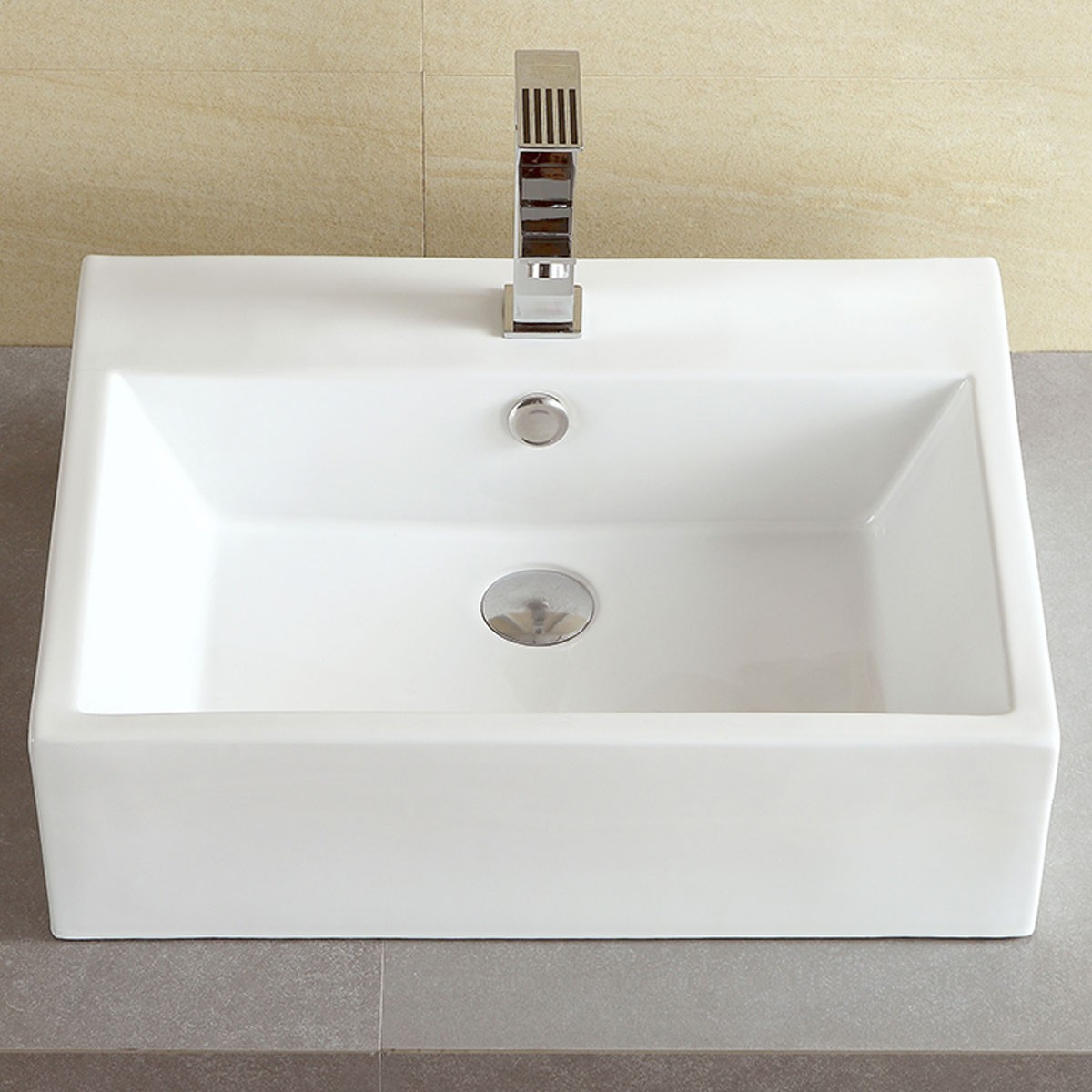 Decoraport White Rectangle Ceramic Above Counter Basin Vessel Vanity Sink Cl 1094