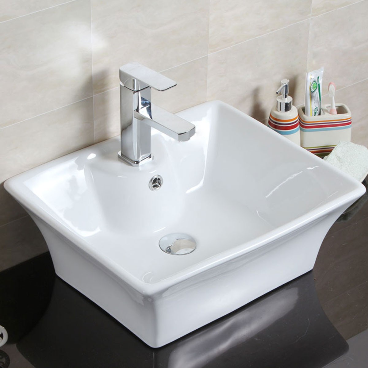 Decoraport White Rectangle Ceramic Above Counter Basin Vessel Vanity Sink (CL-1097)
