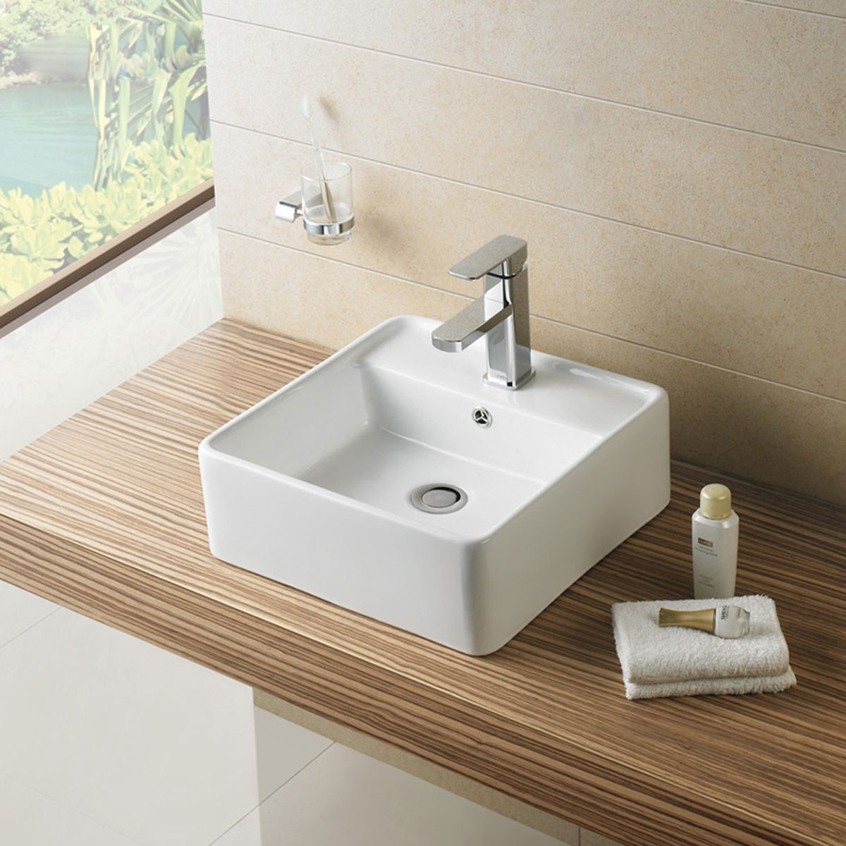 White Square Ceramic Above Counter Basin Vessel Vanity Sink (CL-1098)