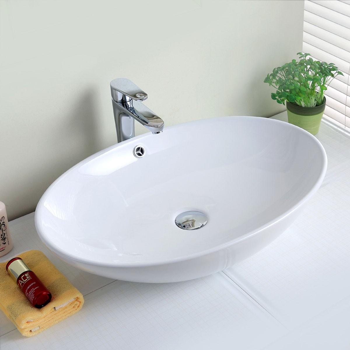 Decoraport White Oval Ceramic Above Counter Basin Vessel Vanity Sink (CL-1164)