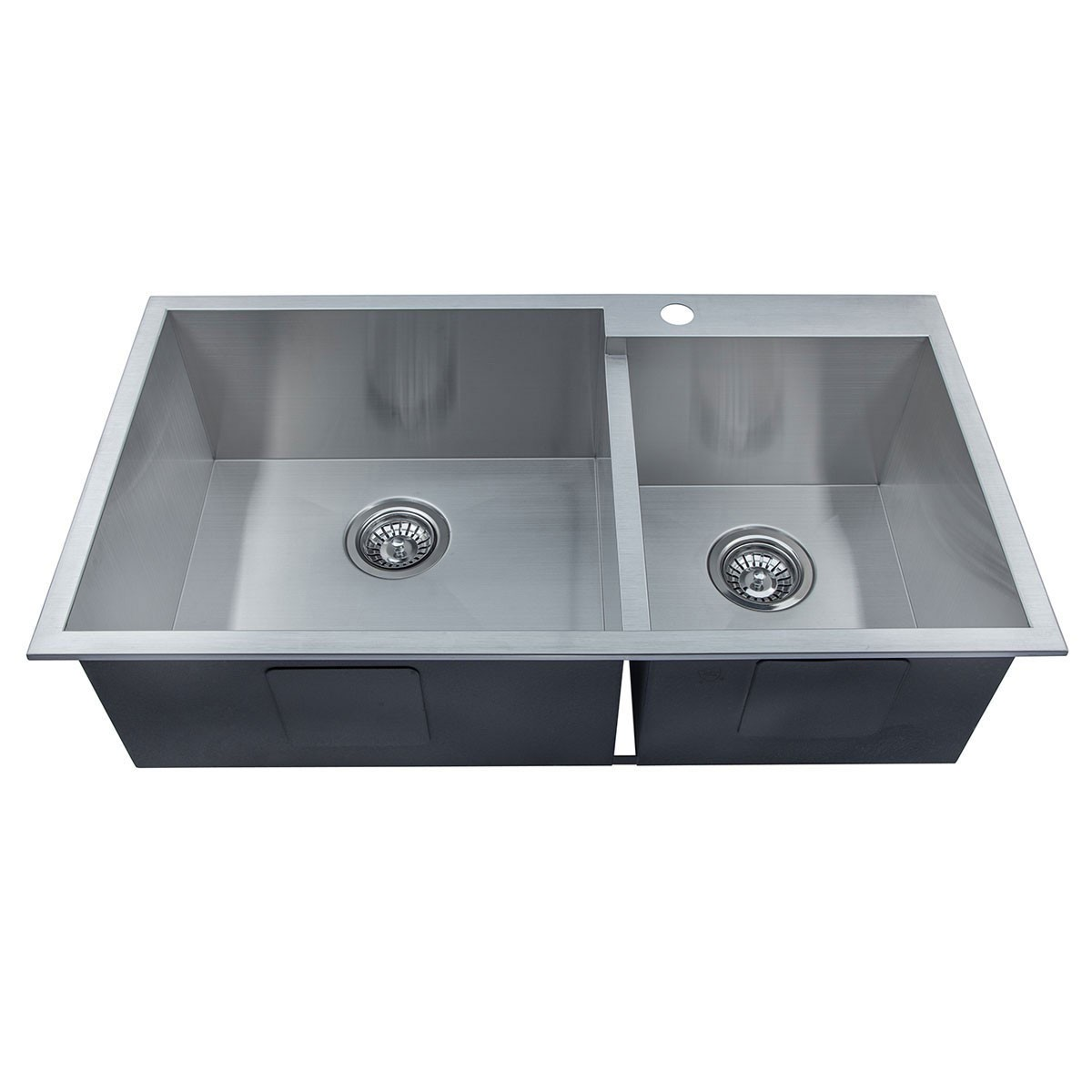 33 x 18 In. Stainless Steel Double Bowls Handmade Kitchen Sink (DG3318-R0)