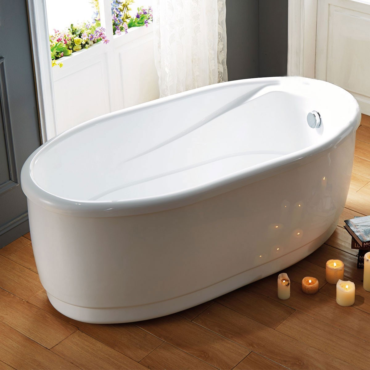 59 In White Acrylic Freestanding Bathtub (DK-Q132A)