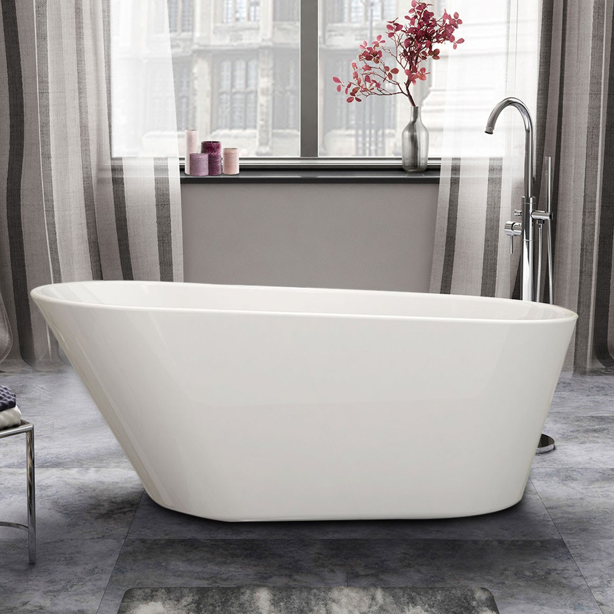 61 In White Acrylic Seamless Freestanding Bathtub (DK-1506B)