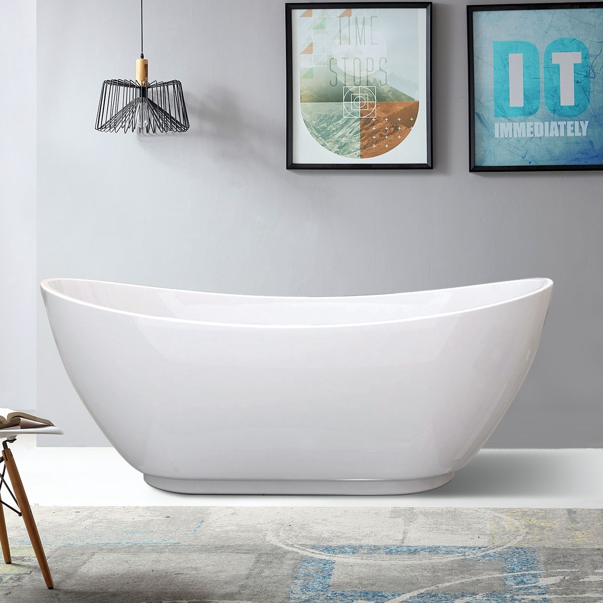 66 In Seamless Freestanding Bathtub - Acrylic Pure White (DK-PW-10774)
