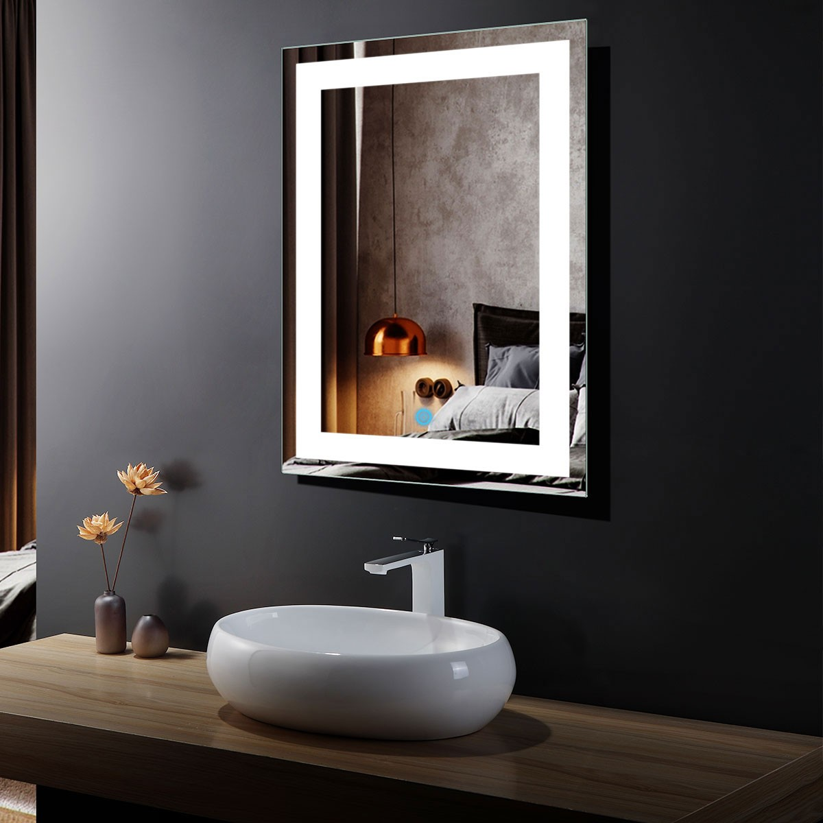 24 x 32 In Vertical LED Mirror, Touch Button (DK-OD-CK010)