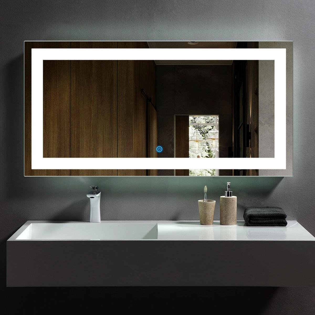 48 x 24 In Horizontal LED Bathroom Mirror, Touch Button (DK-OD-CK010-E)
