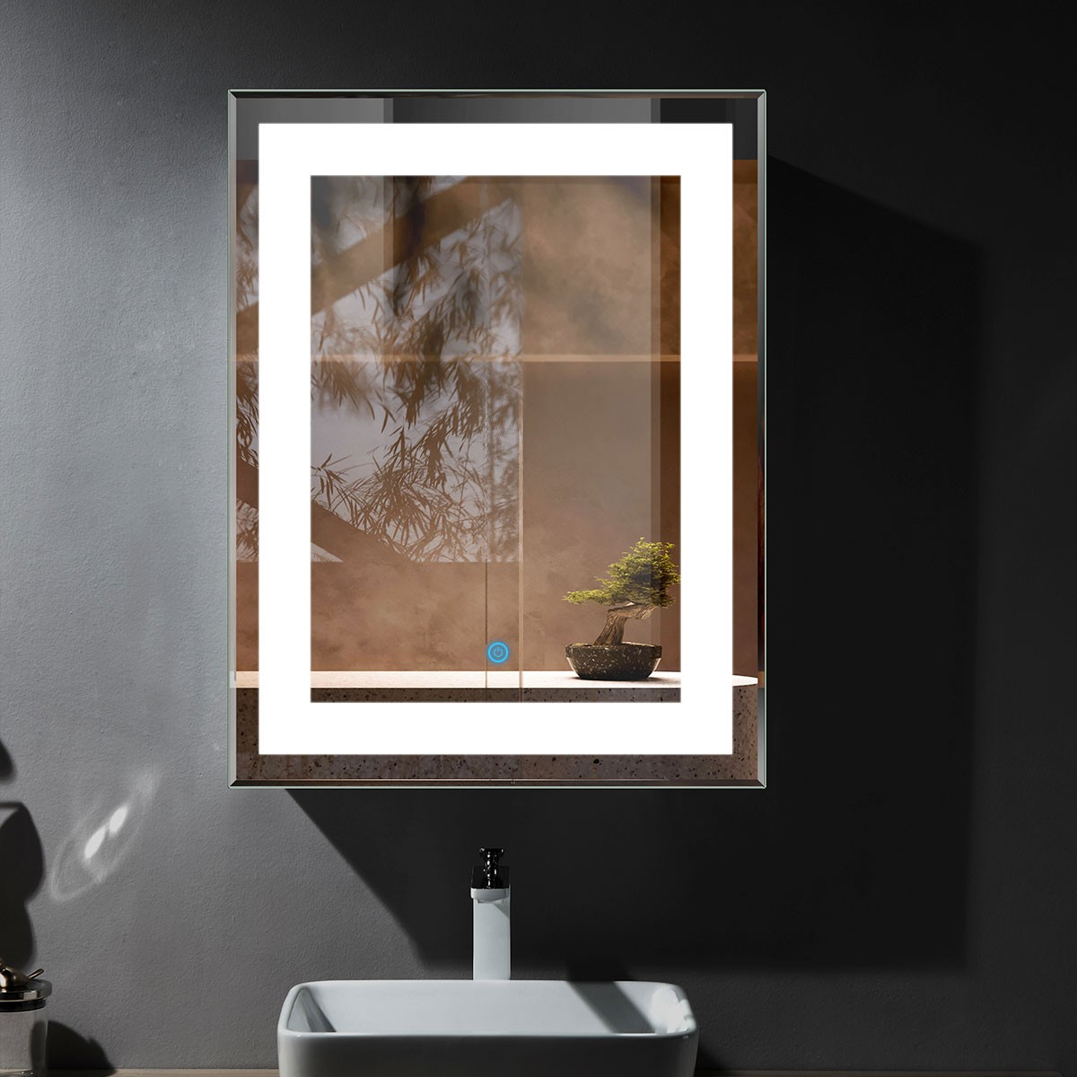 36 x 28 In Vertical LED Mirror, Touch Button (DK-OD-CK168-I)