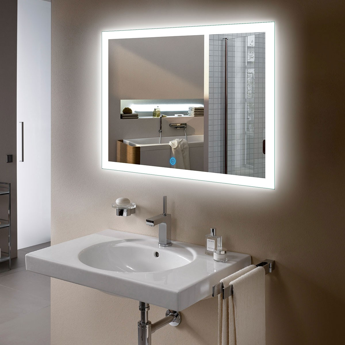 36 x 28 In Horizontal LED Bathroom Mirror, Touch Button (DK-OD-N031-I)