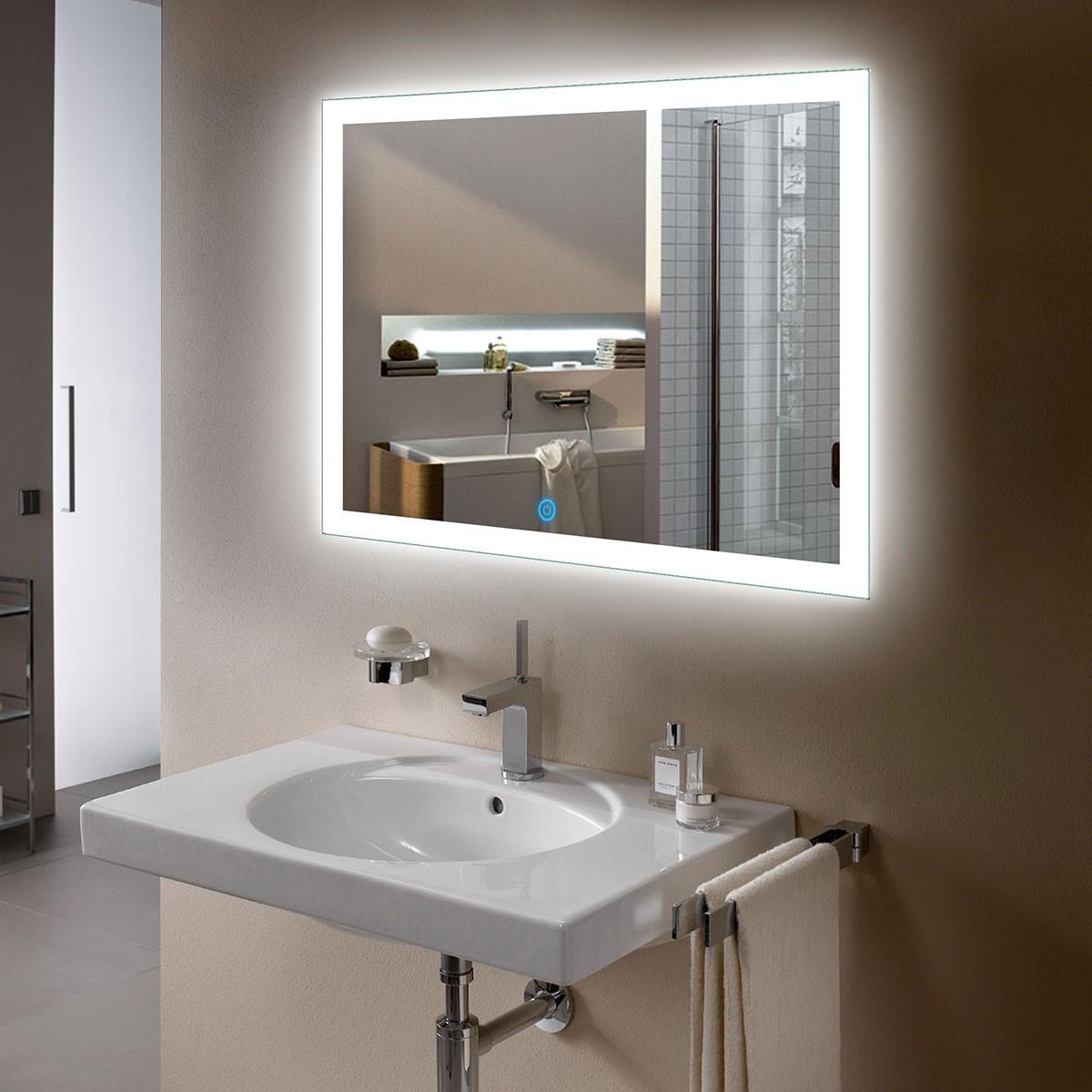 36 x 28 In Horizontal LED Bathroom Mirror, Touch Button (DK-OD-N031-I)
