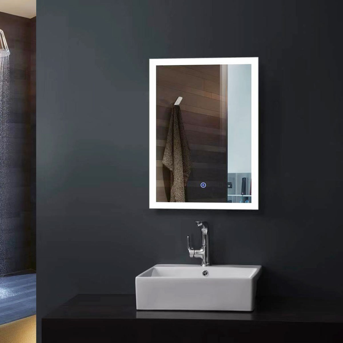 20 x 28 In Vertical LED Bathroom Mirror, Touch Button (DK-OD-N031-H)