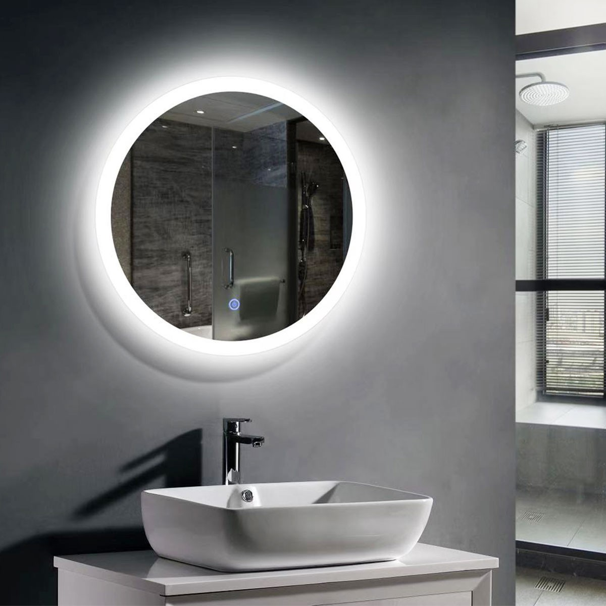24 x 24 In Round LED Bathroom Mirror, Touch Button (DK-OD-CL065-1)