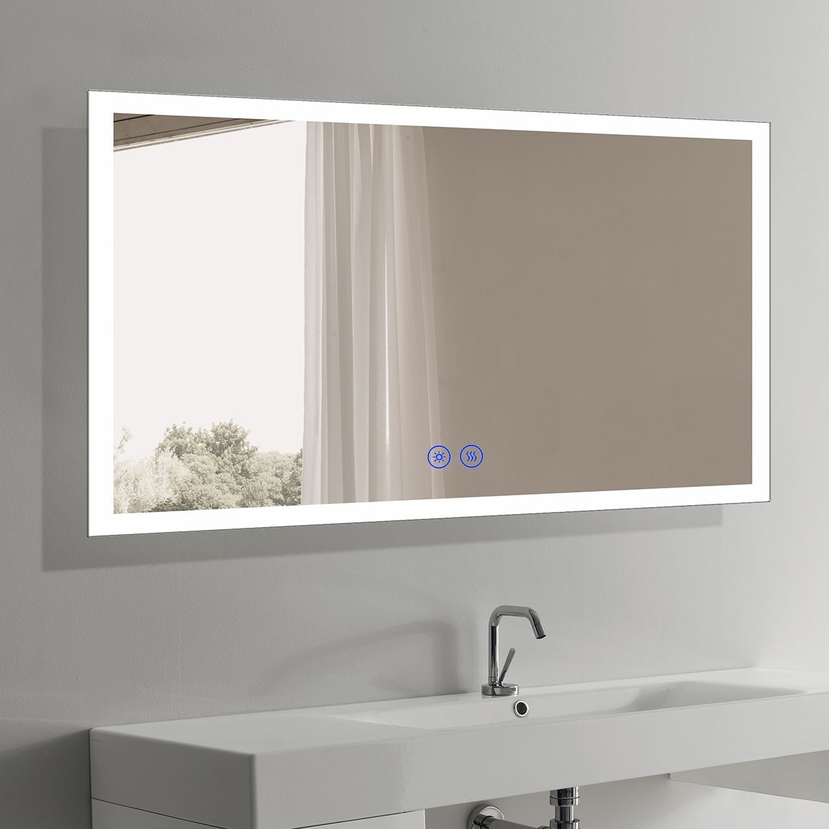 DECORAPORT 60 x 36 Inch LED Bathroom Mirror/Dress Mirror with Touch Button, Anti Fog, Dimmable, Vertical & Horizontal Mount (NT03-6036)