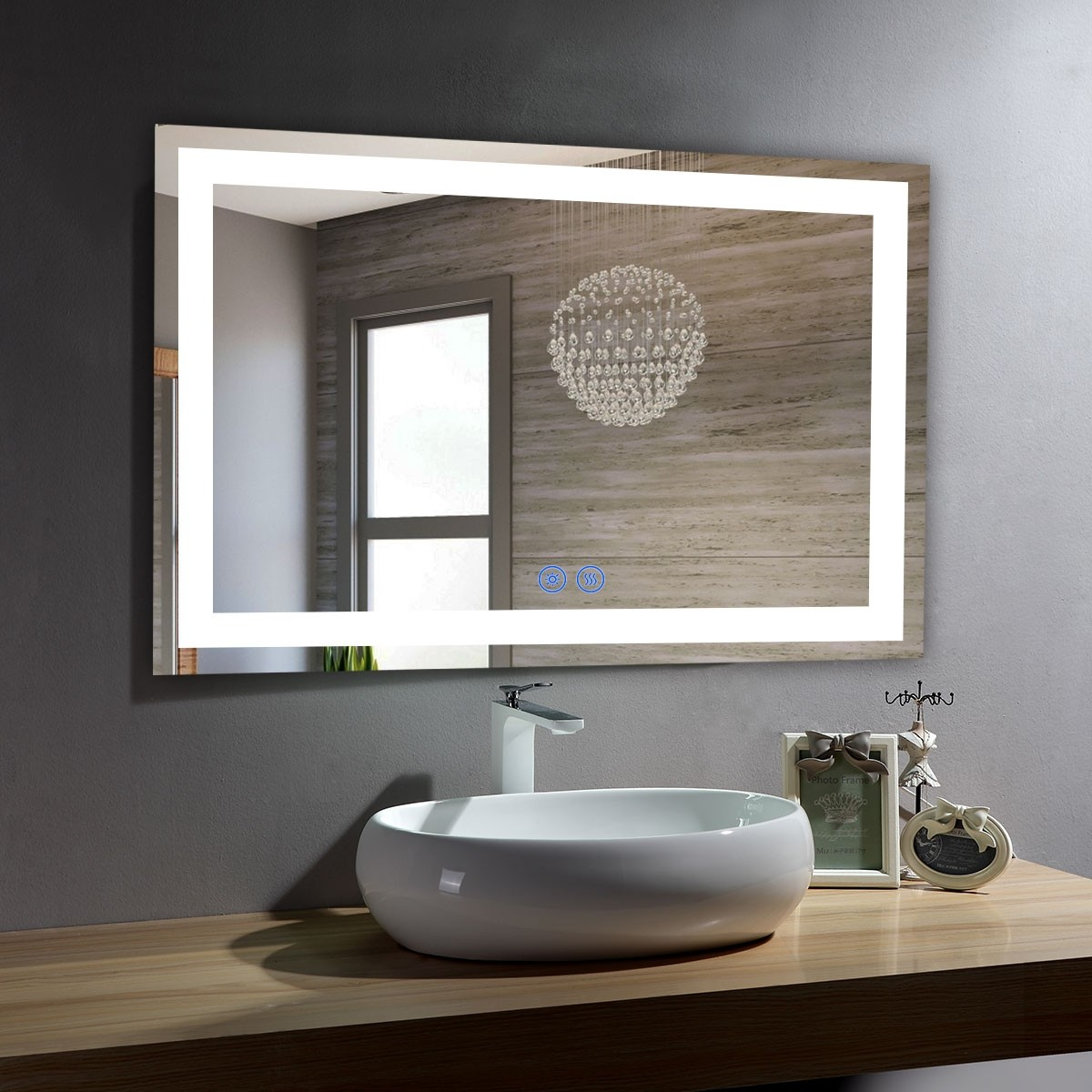 DECORAPORT 40 x 28 Inch LED Bathroom Mirror/Dress Mirror with Touch Button, Anti Fog, Dimmable, Vertical & Horizontal Mount (CT10-4028)