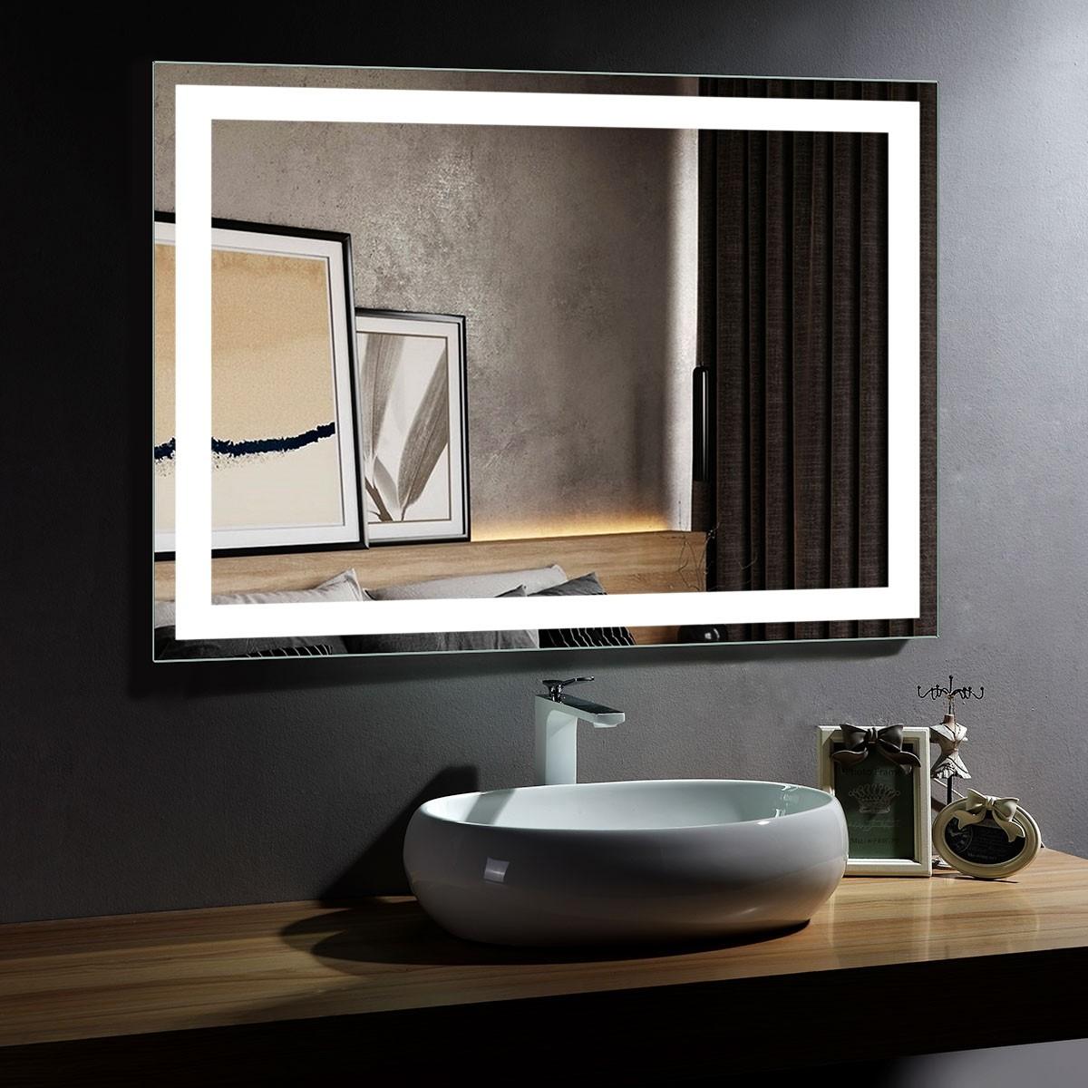DECORAPORT 48 x 36 Inch LED Bathroom Mirror/Dress Mirror with Infrared Sensor Control, Anti-Fog, Vertical & Horizontal Mount (CK010-4836-GS)