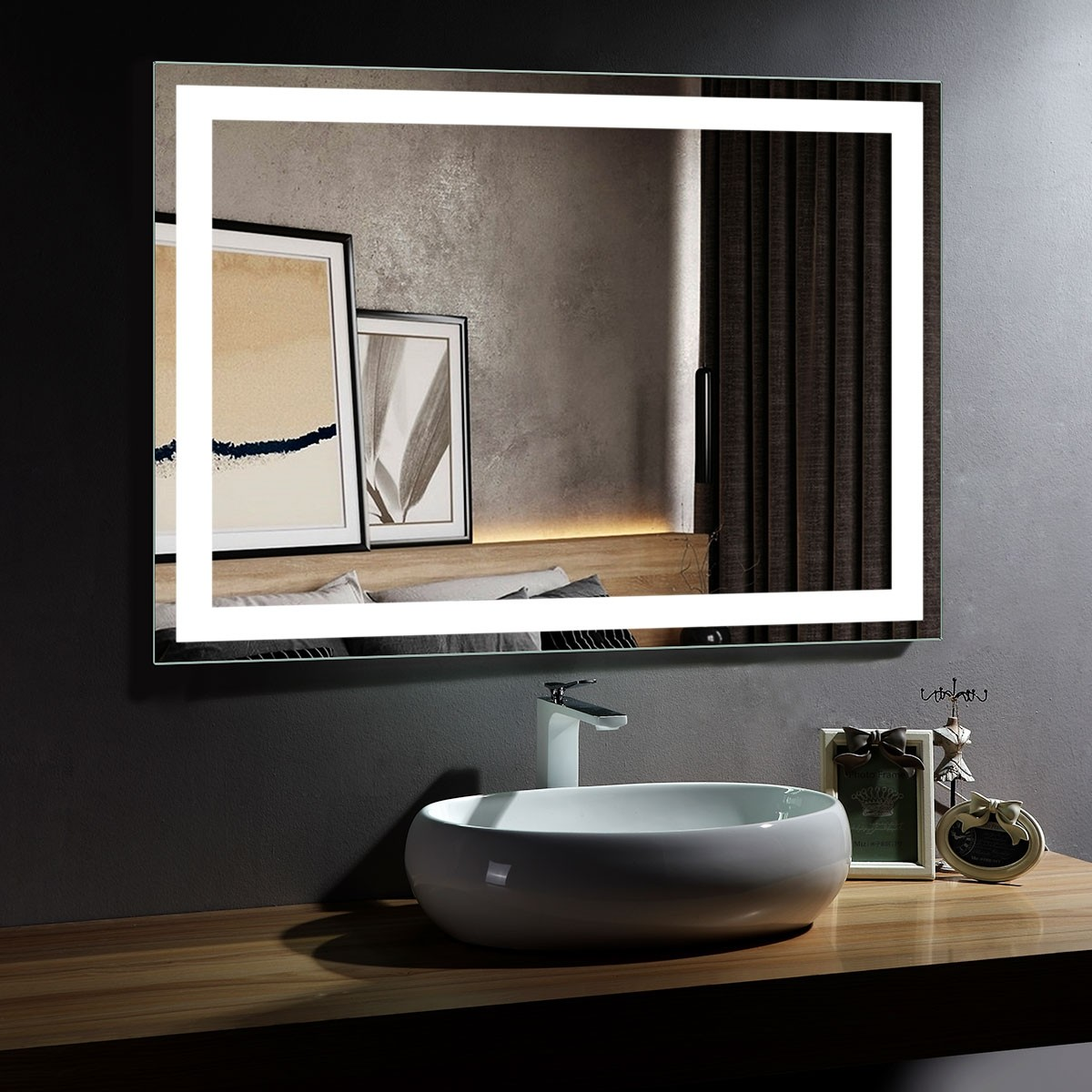 DECORAPORT 48 x 36 Inch LED Bathroom Mirror/Dress Mirror with Infrared Sensor Control, Anti-Fog, Vertical & Horizontal Mount (CG07-4836)