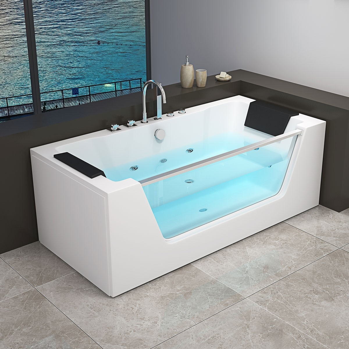 Decoraport 71 x 36 In Whirlpool Tub with Heater, Ozone (DK-RL-6180S)