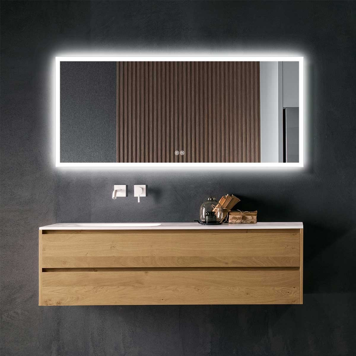 DECORAPORT 70 x 32 In LED Bathroom Mirror with Touch Button, Anti-Fog, Dimmable, Vertical & Horizontal Mount (NT02-7032)