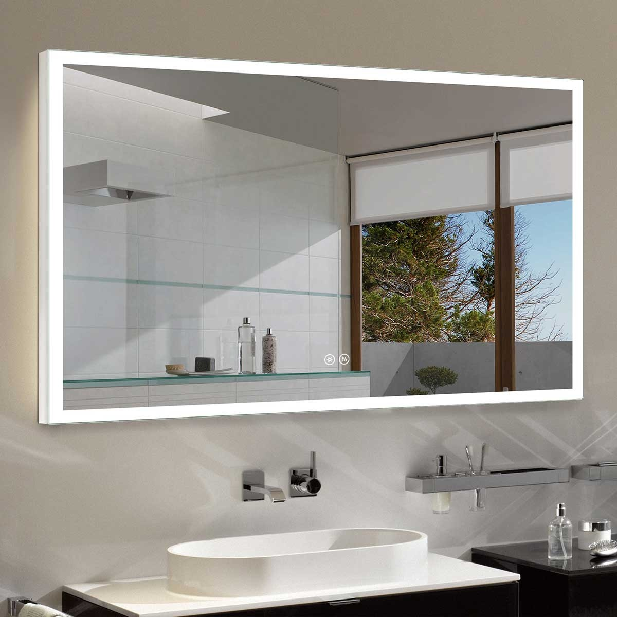 DECORAPORT 55 x 36 Inch LED Bathroom Mirror/Dress Mirror with Touch Button, Anti Fog, Dimmable, Vertical & Horizontal Mount (NT05-5536)