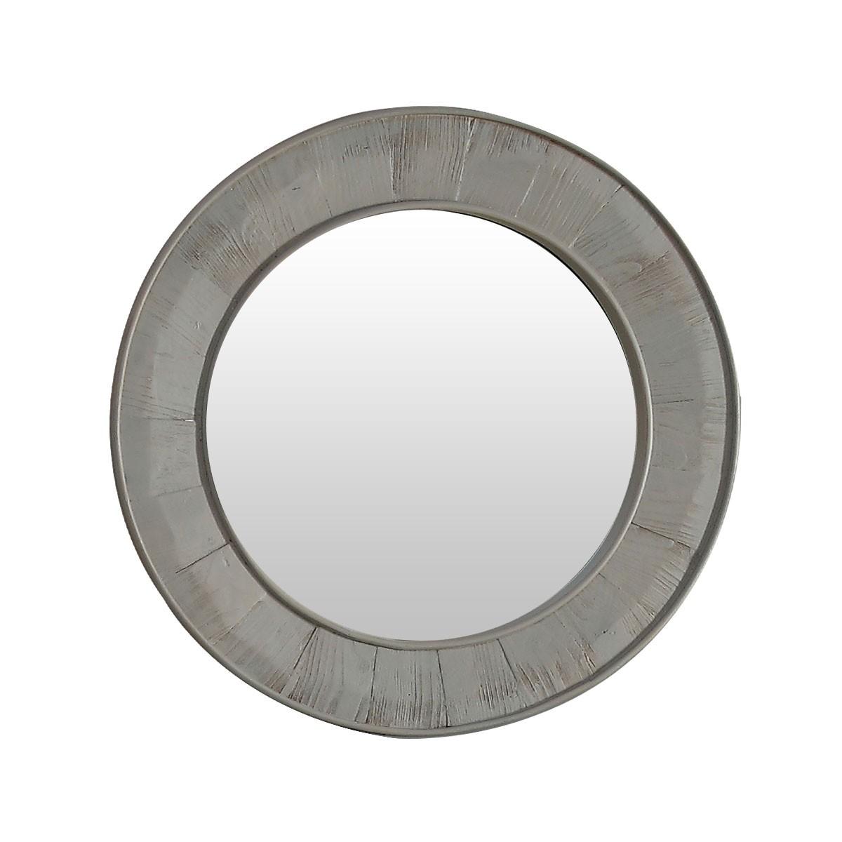 28 x 28 In Round Bath Vanity Décor Mirror with Fir Wood Frame (DK-WK2911-GY)
